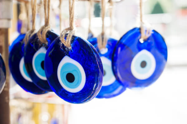 Turkish souvenir eyes in the market of Istanbul. Eastern traditional mascot